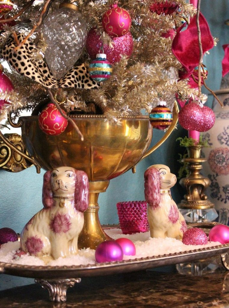 Staffordshire Pups in front of Vintage Brass Trophy Cup and Tinsel Christmas Tree