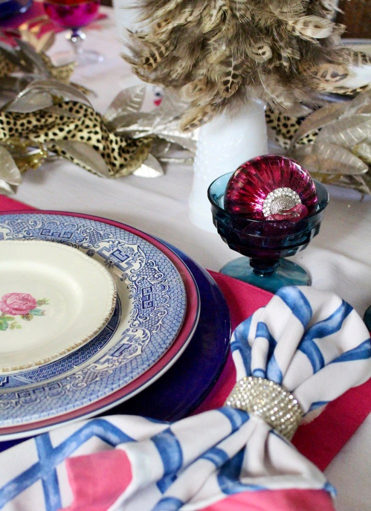 Blue and White China on Christmas Table