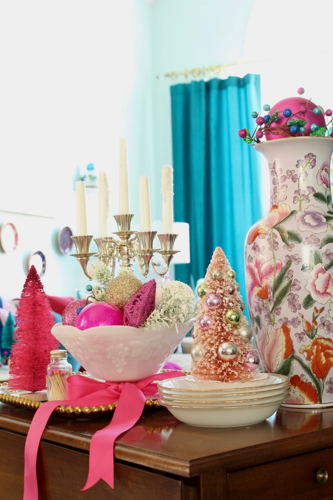 Vintage Milk Glass bowls and Pink Bottle Brush Christmas Trees