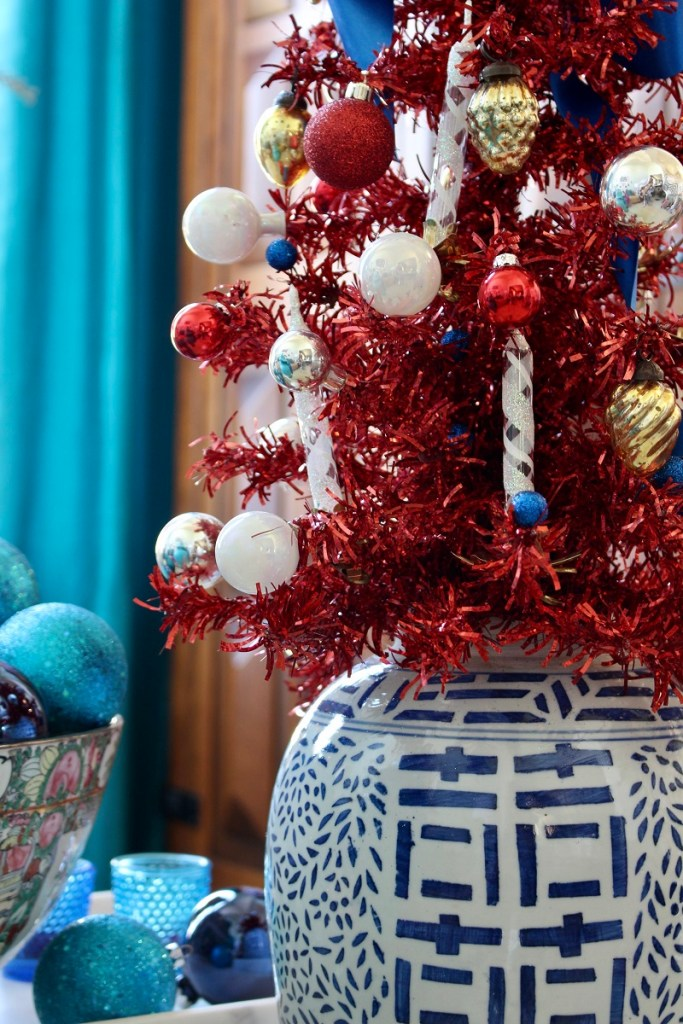 Red Tinsel Tree in Chinoiserie Jar