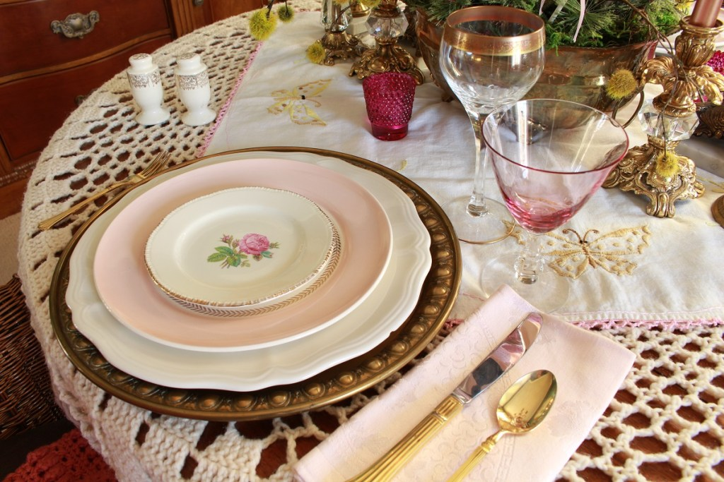 Pink and White Valentine's Day Tables Setting with crocheted tablecloth