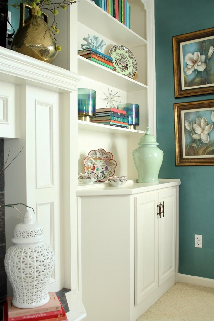 Home Decor Trends - Large White and Celadon Green Ginger Jars on White Bookcase