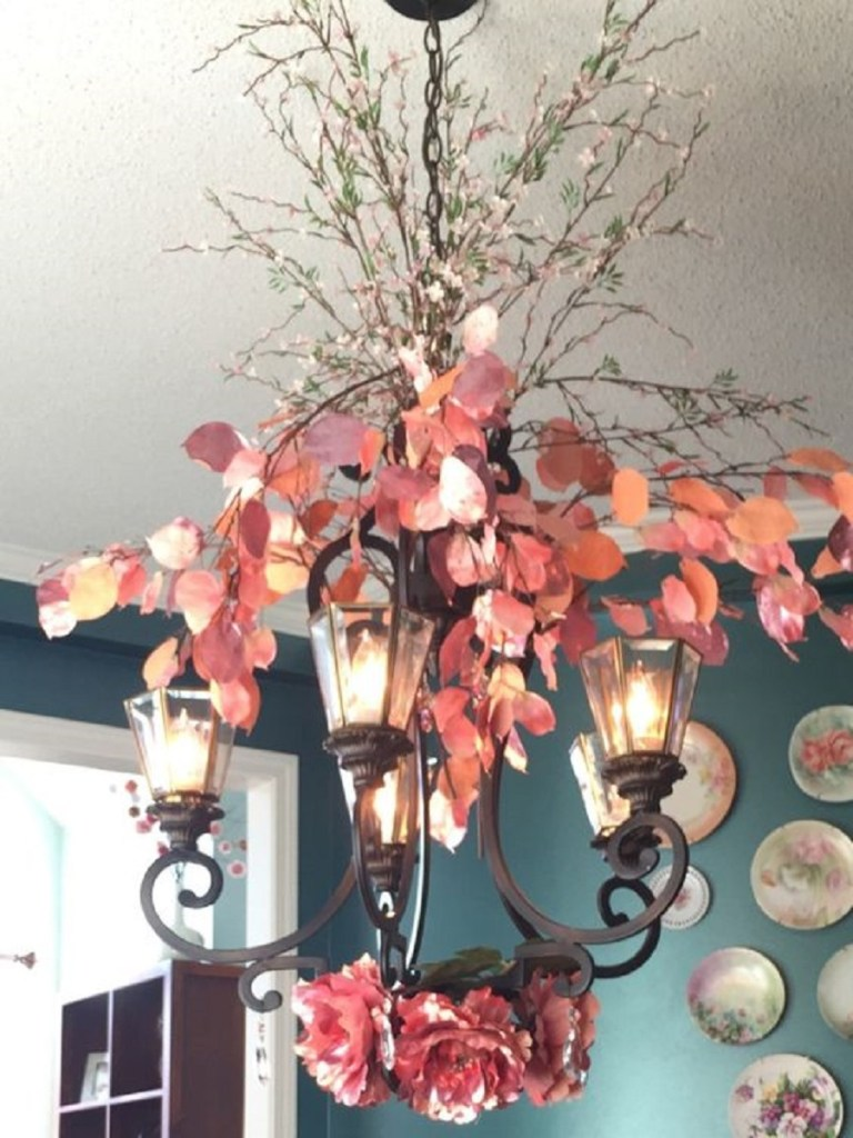 Floral Stems on iron chandelier