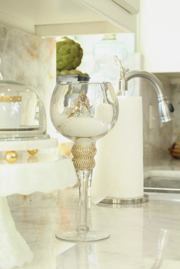Home Decor Large Clear Glass Candlestick in Elegant White Kitchen