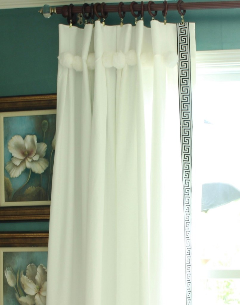 White Drapes with Greek Key Trim