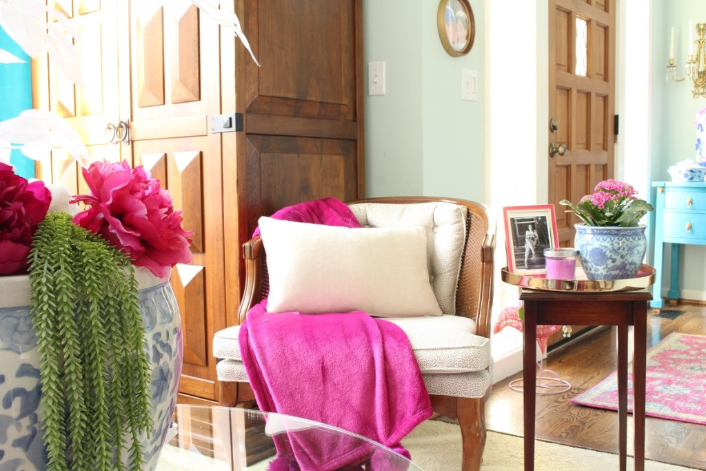 Spring Home Tour - Fushia Throw
