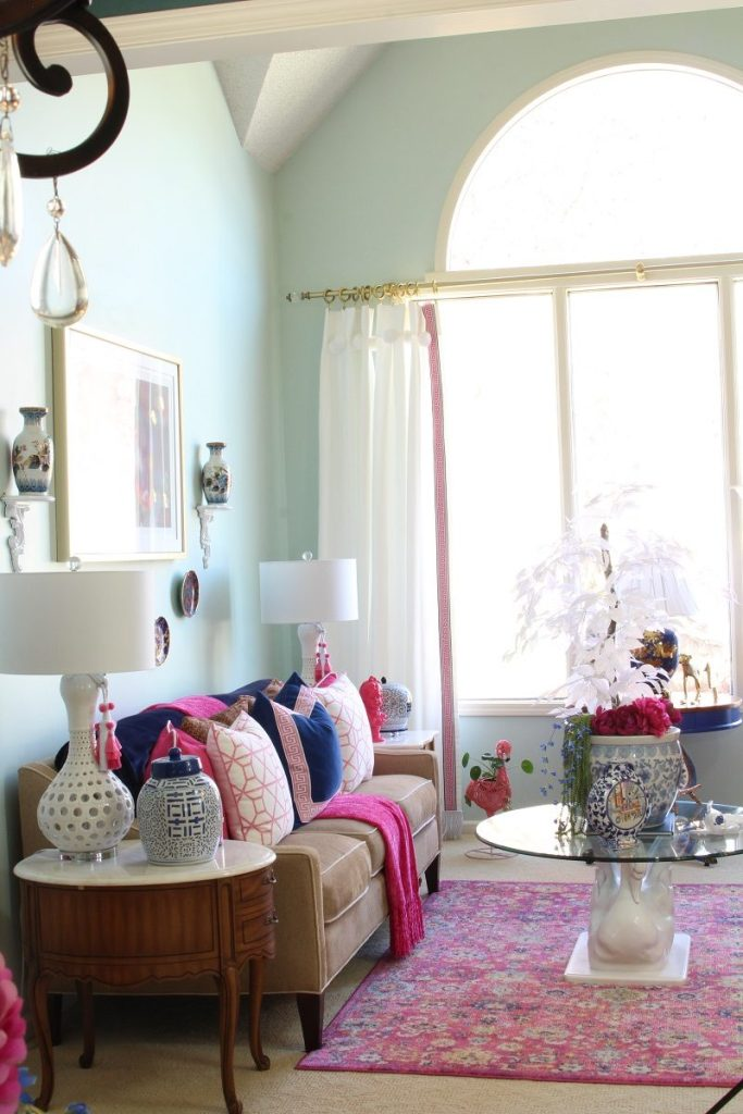 Pink Blue and White Spring Home Tour