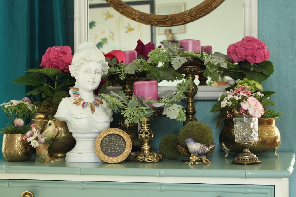 Pink Hydrangea and Vintage Brass
