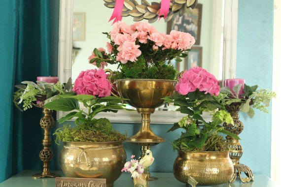 Indoor Hydrangea and Azalea Garden in Vintage Brass Containers
