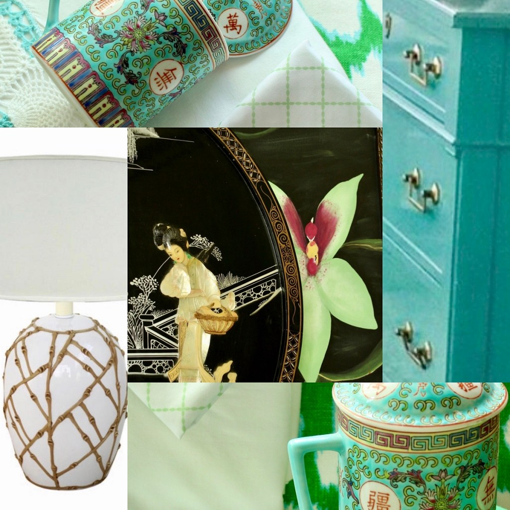 Chinoiserie Chic Collage for Master Bedroom Makeover