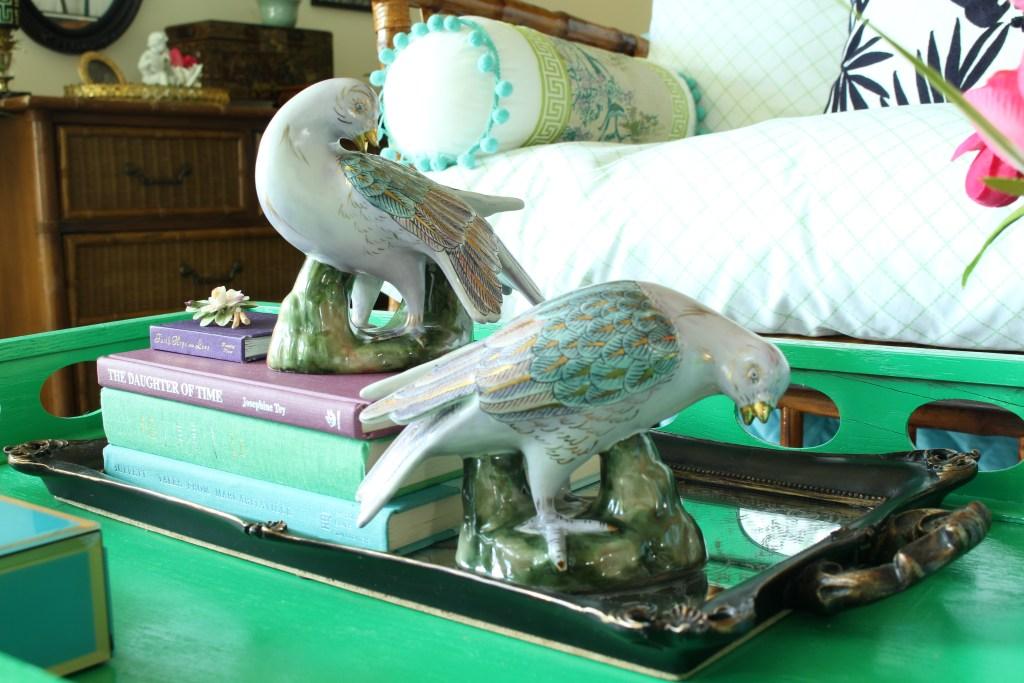Antique Ceramic Doves in Pastel Colors