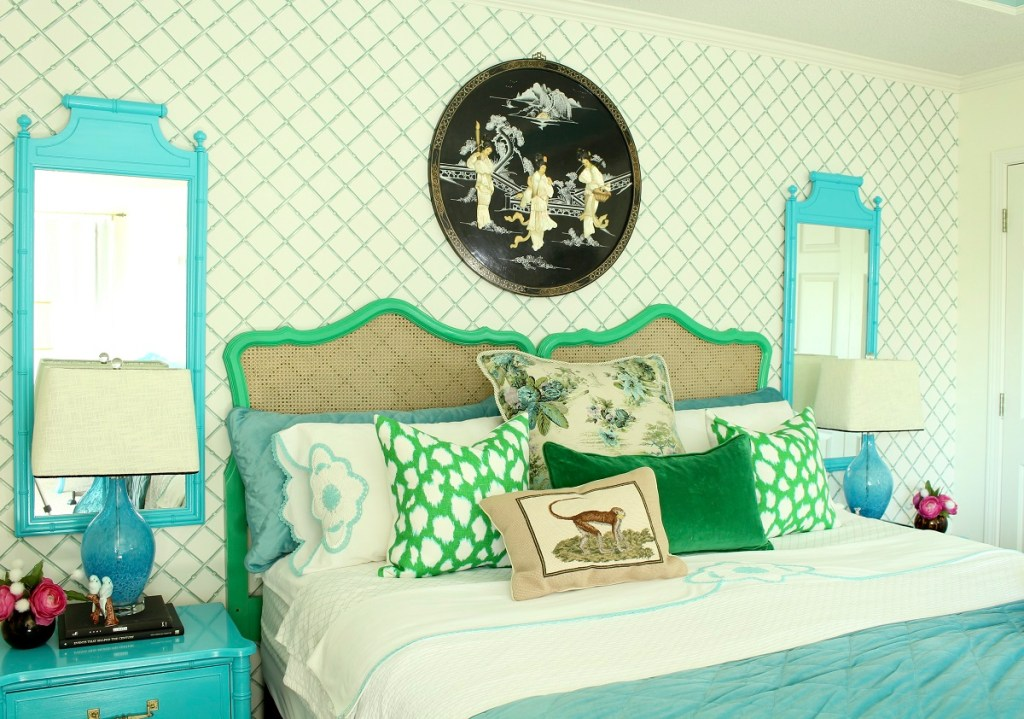 Elegant Vintage Cane Headboard and Chinoiserie Bedding