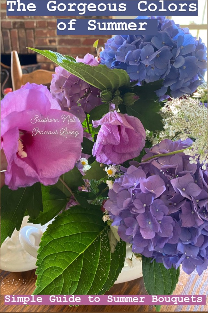 Rose of Sharon and Blue Hydrangea Flower Arrangement Guide