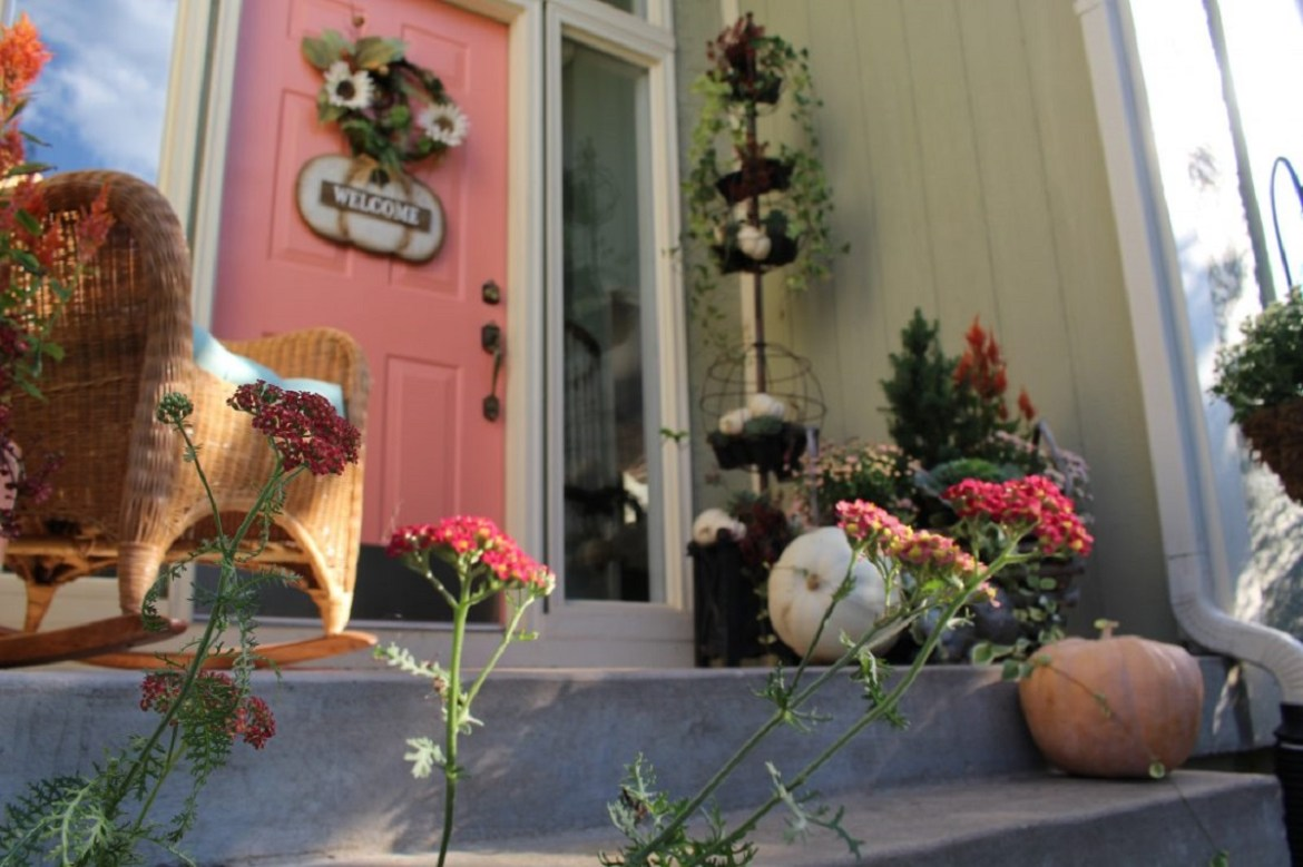 Fall Pumpkins and Mums on Front Porch