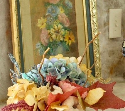 Fall Hydrangea and Maple Leaves in Vintage Container