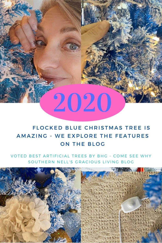 Blue White Flocked Holiday Tree