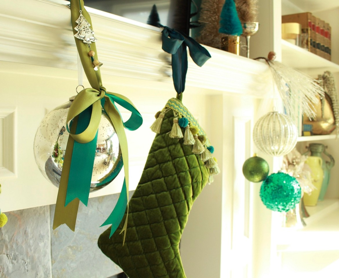 Green Velvet Christmas Stockings