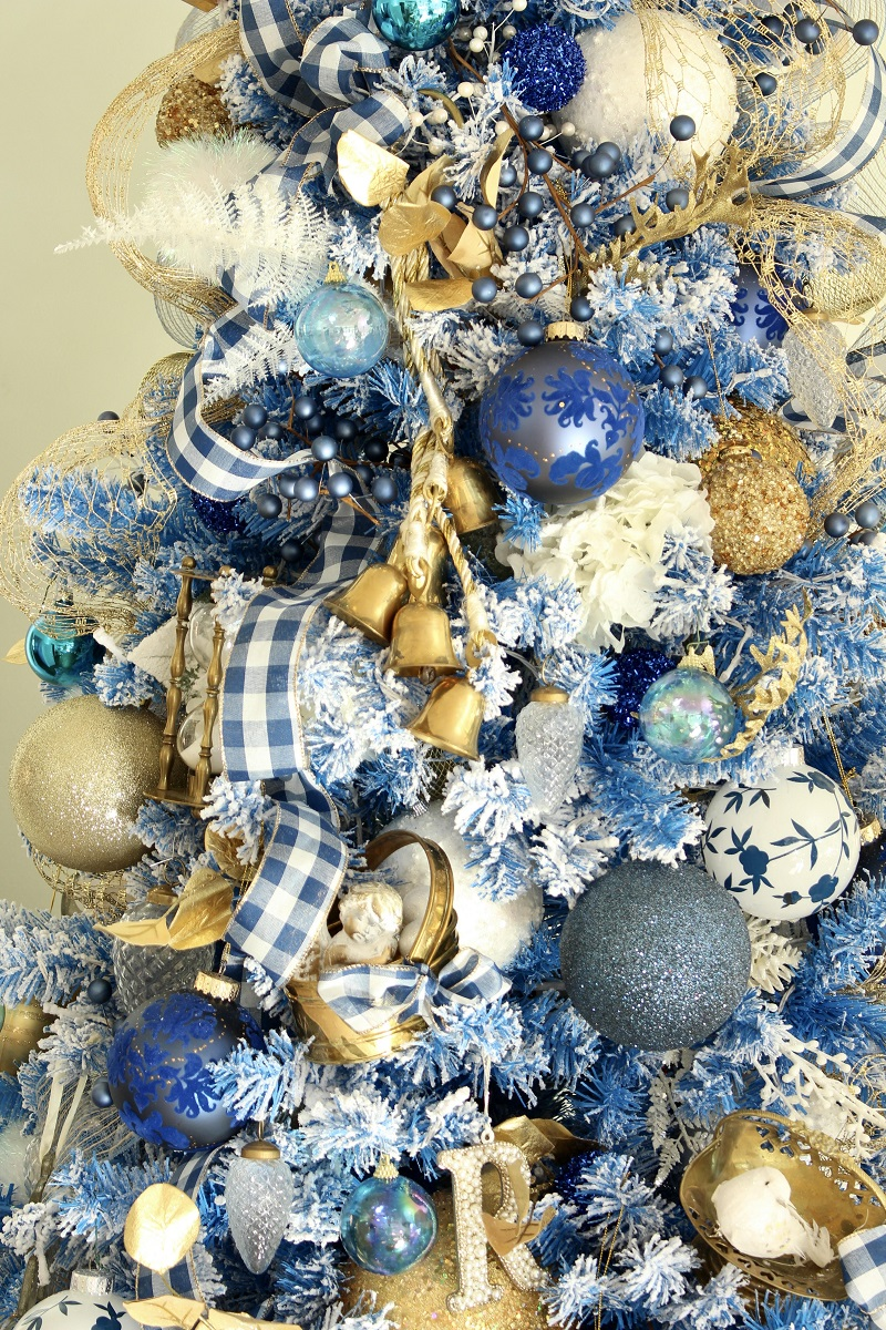Blue and White Gingham Christmas Ribbon