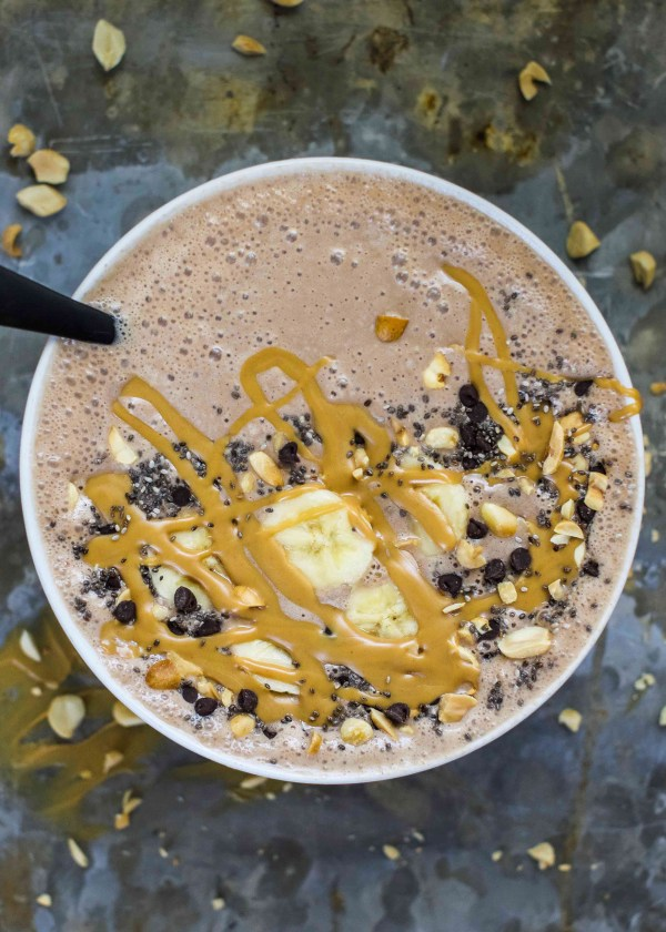 Chocolate Peanut Butter Protein Smoothie Bowl