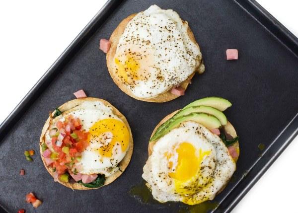 New Year's Day Breakfast Tostadas- 3 ways