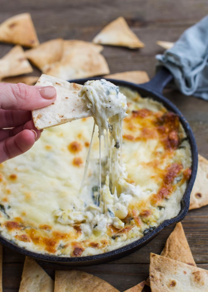 30-Minute Spinach & Artichoke Skillet with Homemade Tortilla Chips