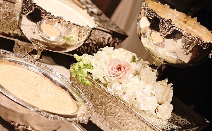 elegant food buffet at the msu riley center | pretty presentations catering | meridian ms wedding flowers | ivory and blush wedding flowers