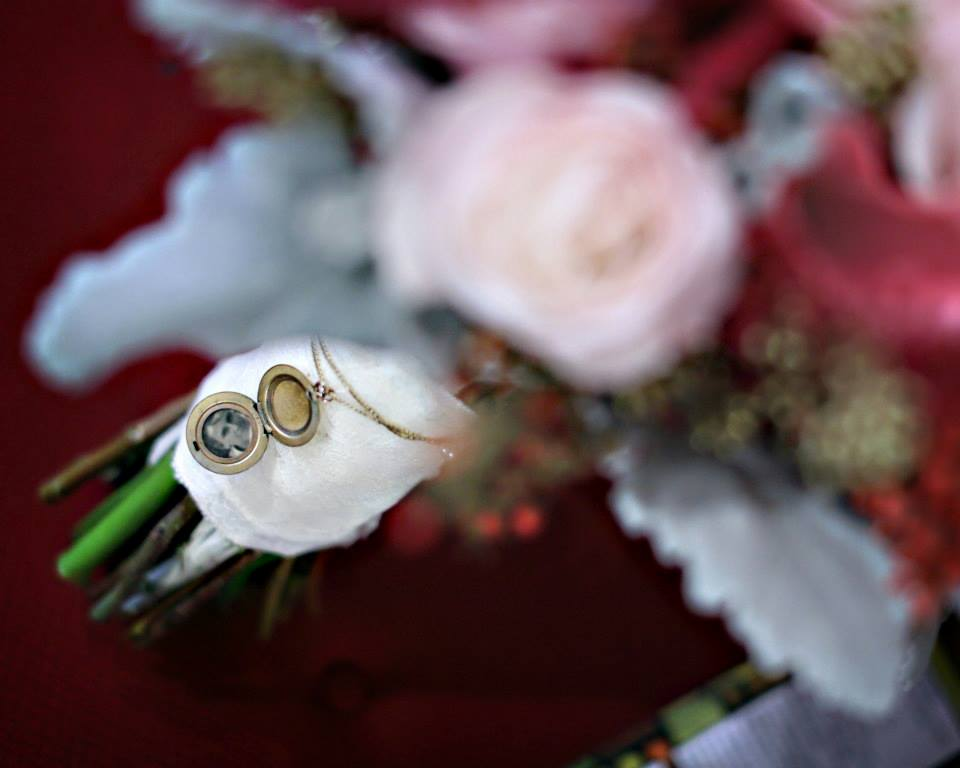 locket on wedding bouquet