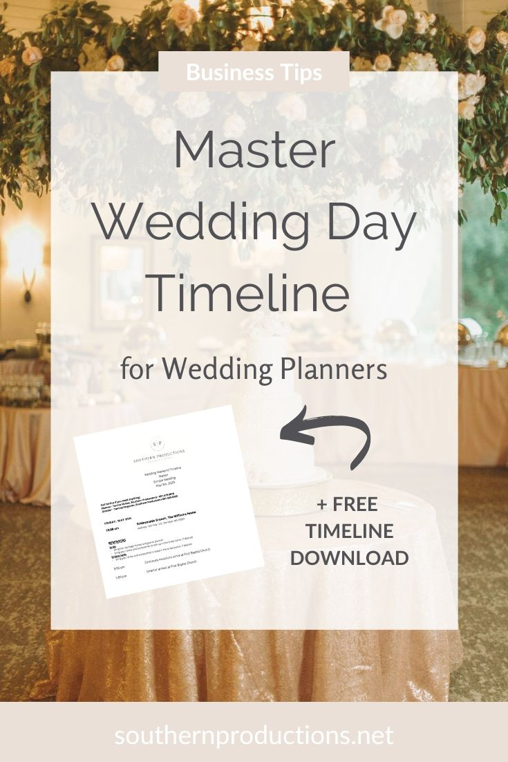Master Wedding Day Timeline for Wedding Planners