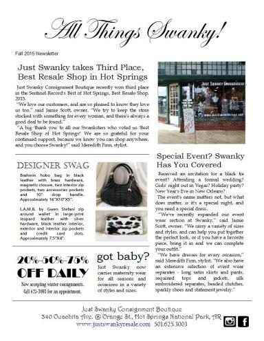 All Things Swanky! Fall Newsletter, page 1