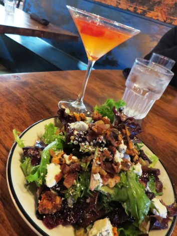 Harvest salad with a Rear Ended martini