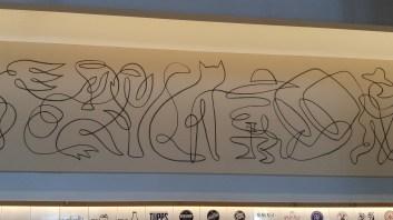 line drawing cat & farmer