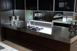 Residential stainless indoor kitchens and benches