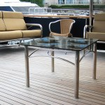 Stainless Steel Furniture, Marine stainless couches and coffee table on back of luxury boat