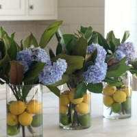 Summer Progressive Dinner Party-  Citrus and Hydrangea Centerpiece