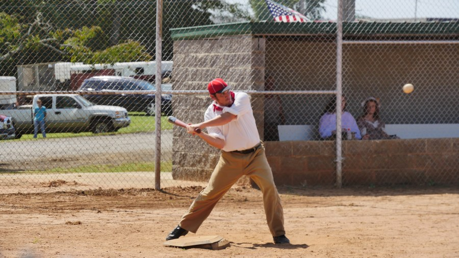 Matt 'Crockett' Bakula of the Redcaps takes a swing. (Photo by Tyler Pruett)