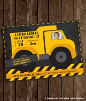 Big Yellow Dump Truck Invitation