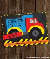 Big Blue and Red Dump Truck Invitation