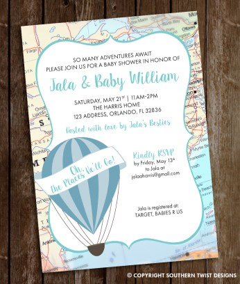 Travel Baby Shower Invitation with Hot Air Balloon