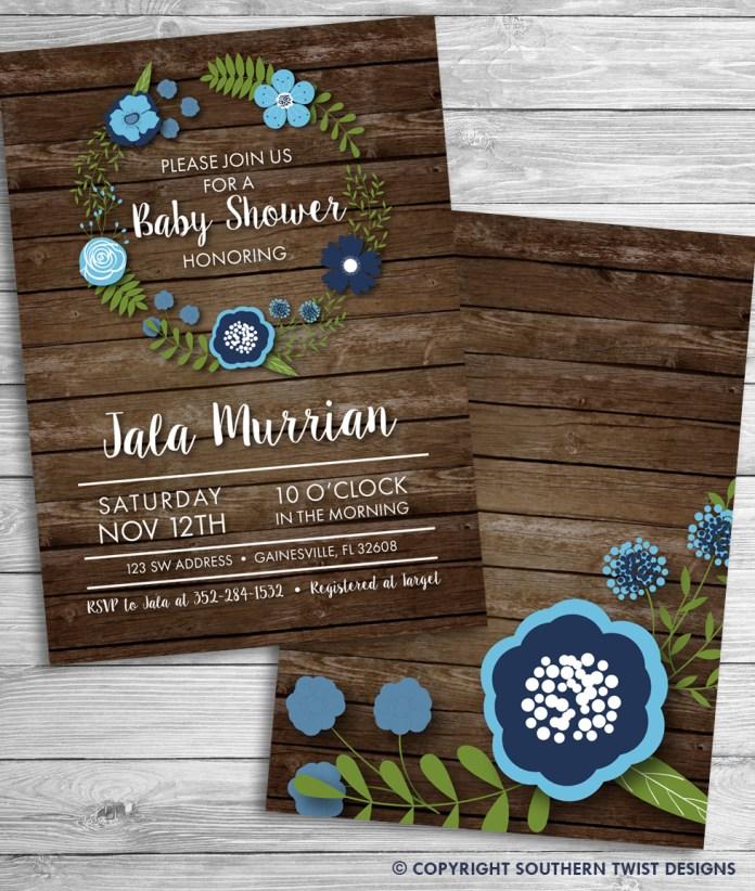 Blue Flowers on Rustic Dark Wood