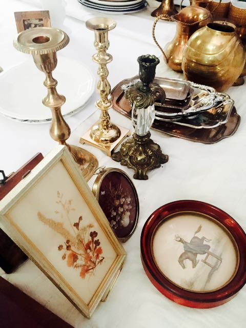 Vintage Art and Candle Holders at Southern Vintage Table