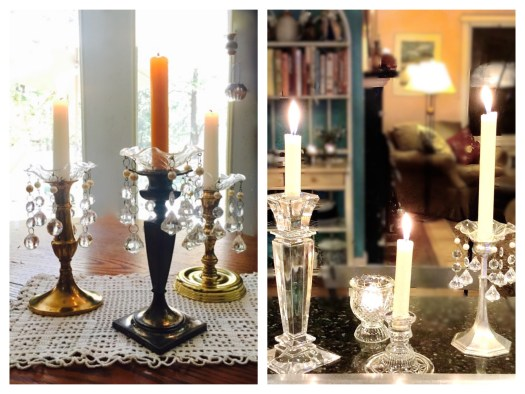 Vintage Candle Holders with Bobeches