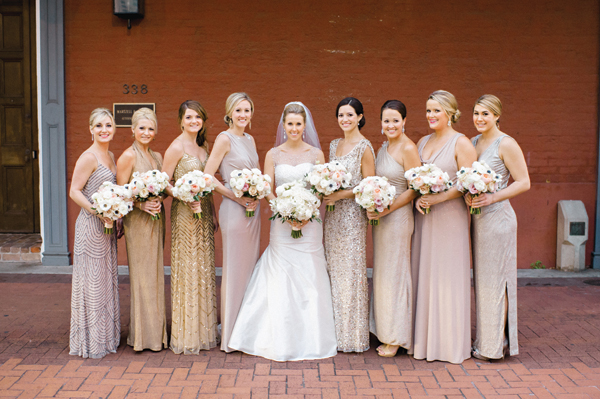Southern-wedding-gold-silver-bridesmaid-dresses