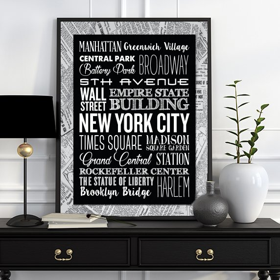 Contemporary Black and White New York Typography