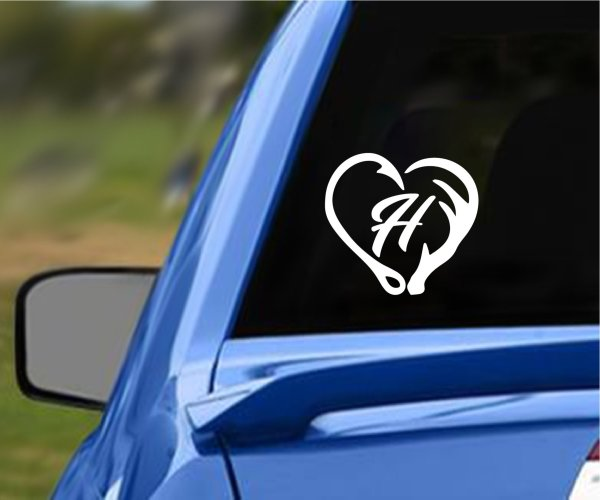 Hook Initial and Antler Vehicle Decal