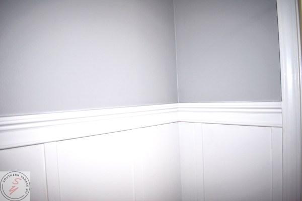 1/2 Bathroom Board and Batten bathroom board and batten, white casing and lattice, gray walls