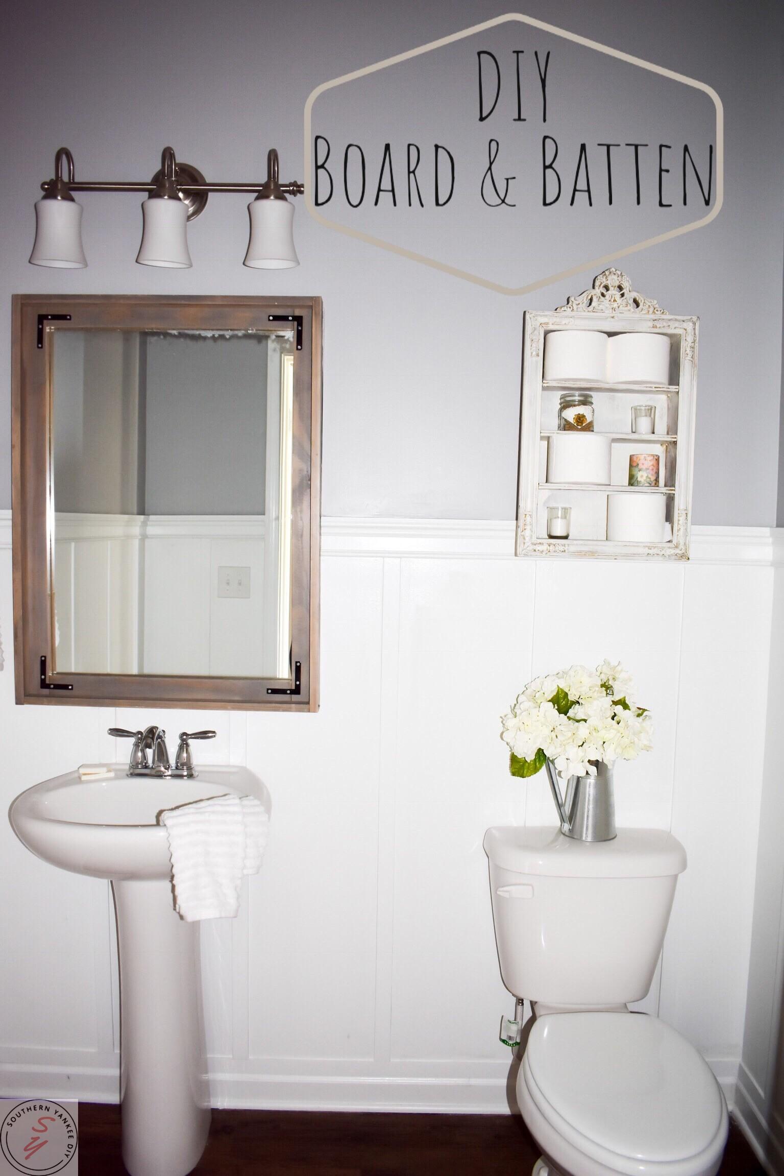 1/2 Bathroom Board and Batten ~ Southern Yankee DIY