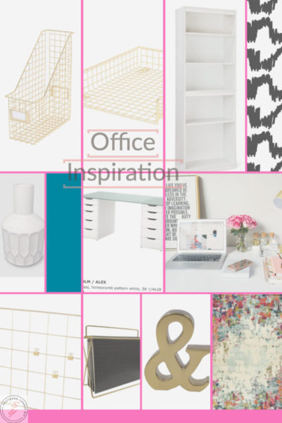 office inspiration board, gold, pink, black, white, desk, bookcase