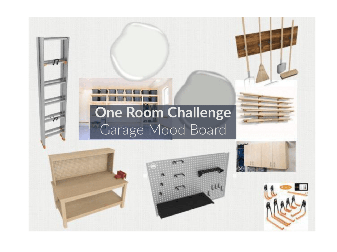 One Room Challenge, ORC, Garage Mood Board, Garage Design Board, Design Board, Garage, Garage Layout, Workshop, Worshop Layout, Garage Storage, Garage Design
