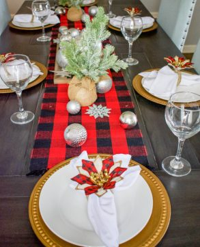 DIY, DIY Christmas, DIY Christmas Decor, Christmas tablescape, christmas place setting, tablescape, place setting, napkin rings, faux pottery barn, dollar tree project, dollar tree christmas decor, dollar tree napkin rings, decor, upcycle project