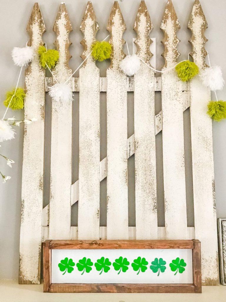 st patricks day, pom pom garland, yarn project, cricut project, wood sign, farmhouse decor, seasonal decor, st patricks day farmhouse decor, farmhouse decor, pom pom, diy pom poms